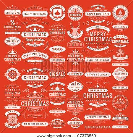 Christmas decorations vector design elements. Typographic messages, vintage labels.
