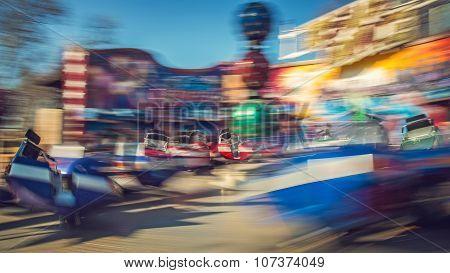 Moving carousel break dance, theme park, Budapest, Hungary