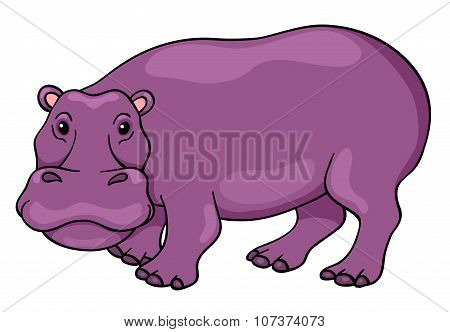 Cute Cartoon Hippopotamus