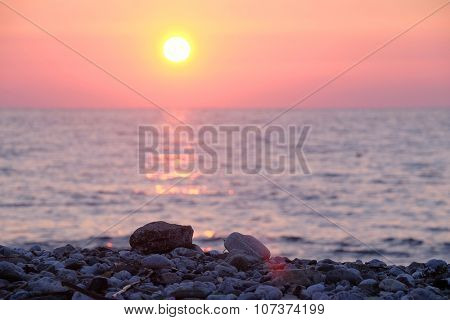 Landscape with the imaage of a sea sunset