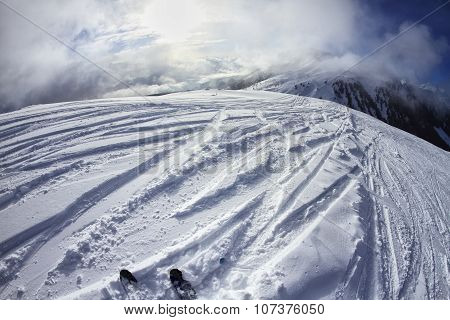 Skiing In The Dolomites, View Of The Slopes On Skis And Mountain Peaks.