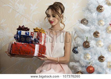 Elegant Female In Christmas Day