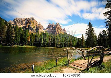 Great View Of The Lago Di Antorno In National Park Tre Cime Di Lavaredo. Cadini Di Misurina Range, D
