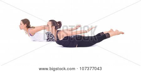 Practicing Yoga exercises in group