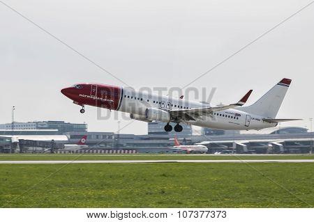 PRAGUE - 27 April 2015: Norwegian Boeing 737-800 Take Off On The Runway