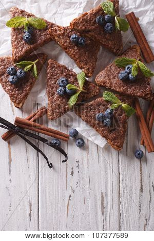 Cinnamon Toast With Vanilla And Blueberries. Vertical Top View
