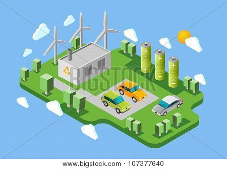 Electric cars charging station isometric banner