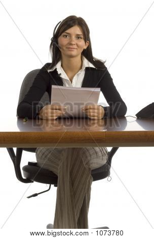 Female Office Worker With Headset