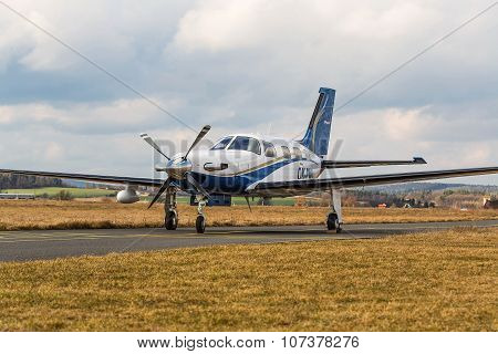 Airport Pribram, CZECH REPUBLIC - February 28. Single turboprop aircraft on airport.