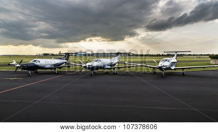 PRAGUE, CZ - airport Prague 26th June 2014: Single Turboprop Aircrafts Pilatus Pc-12 Ng