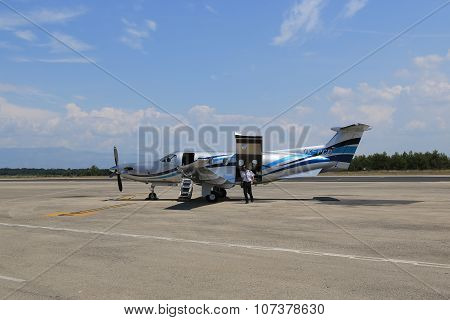 Aircraft Turboprop On The Ground, Cargo Door. Zadar, Croatia