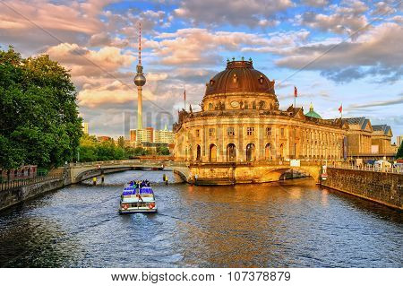 Bode Museum On Spree River And Alexanderplatz Tv Tower In Center Of Berlin, Germany