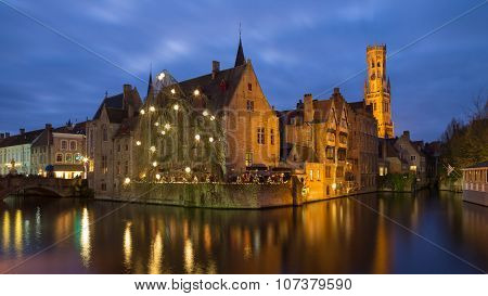 The Burg of Bruges at blue hour, Belgium