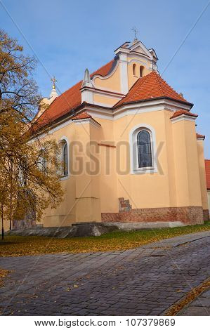 Medieval Romanesque church in  autumn