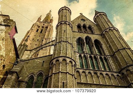 Old Postcard With Gothic Facade Of The Church Of Our Lady, Bruges, Belgium