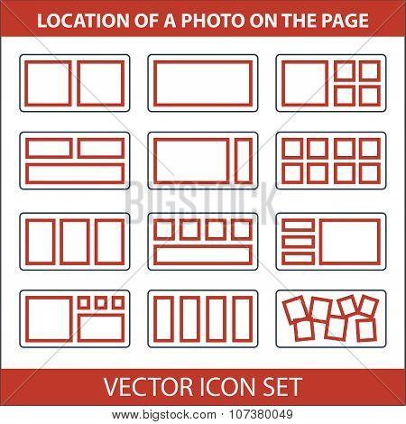 Icon Set Of Location Photos On Page Photobook