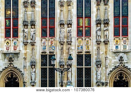 Architectural Facade Detail At One Old Building. Bruges, Belgium