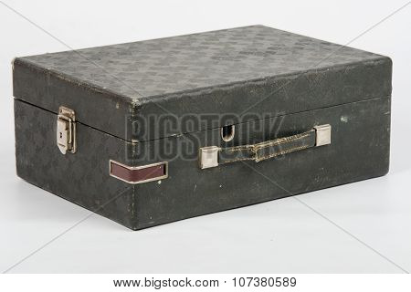 Old Suitcase With Gramophone Inside Isolated On A White Background