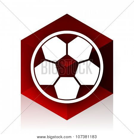 soccer red cube 3d modern design icon on white background