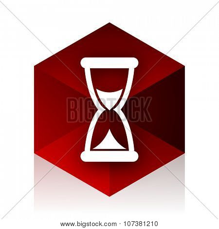 time red cube 3d modern design icon on white background