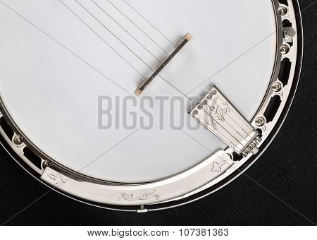 Metalic Banjo Isolated On Black Background