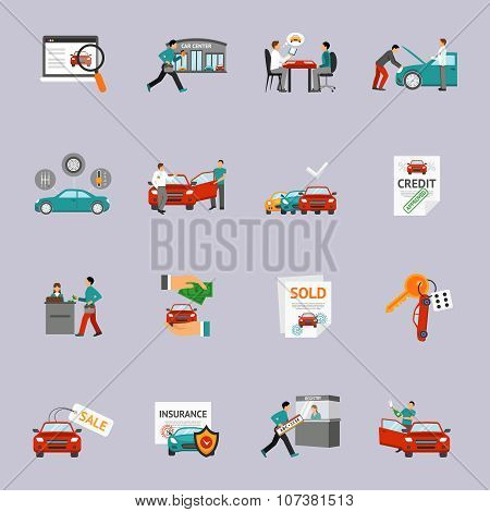 Car Dealership Icon Set