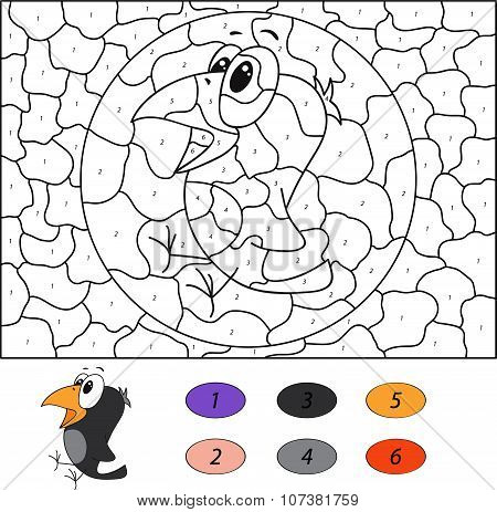 Color By Number Educational Game For Kids. Funny Cartoon Crow. Vector Illustration