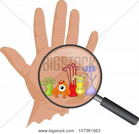 Cartoon Microbes Peek Out From A Magnifying Lens. Hand With Viruses