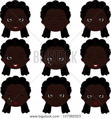 Afro Girl Emotions: Joy, Surprise, Fear, Sadness, Sorrow, Crying, Laughing, Cunning Wink