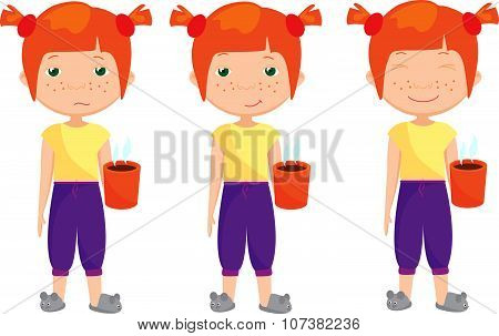 Sad, Pensive And Happy Red-haired Girl, Sleepy And Cheerful