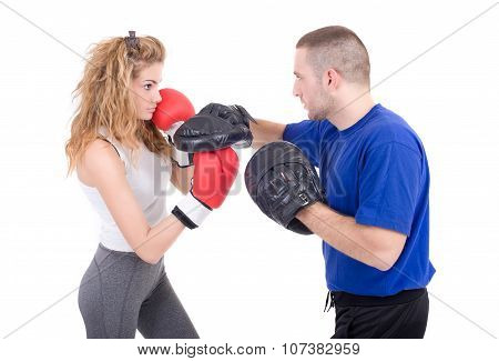 Kickboxing girl  in sparring