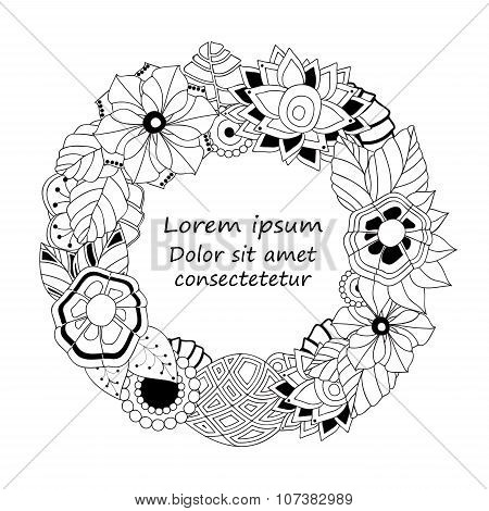 Stock Vector Circle Floral  Doodle Pattern.