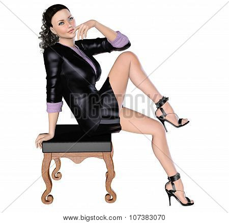 Girl in black skirt and blouse with chair.