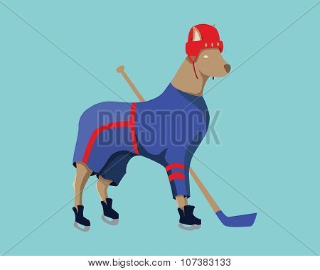 Hockey Dog Mascot In Blue Sportswear