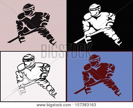 Hockey Players Mascots Silhouettes