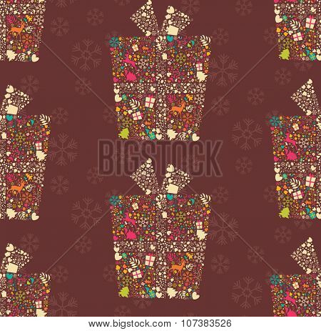 Seamless Pattern With Ornamental Christmas Gift Box With Reindeers, Snowflakes And Flowers