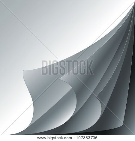 Set of 4 white paper curled corners with realistic shadows