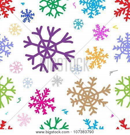 Seamless color snowflakes white
