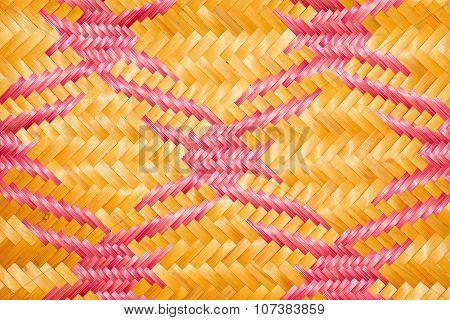 Close up woven bamboo pattern handbags and basketry passing on the community indentity