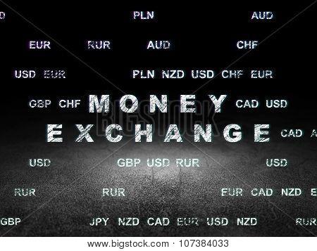 Currency concept: Money Exchange in grunge dark room