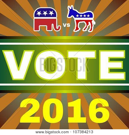 Usa Election 2016 Elephant Versus Donkey Banner