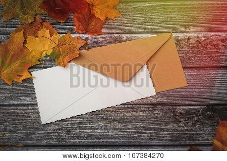 Blank Letter On Vintage Wooden Background