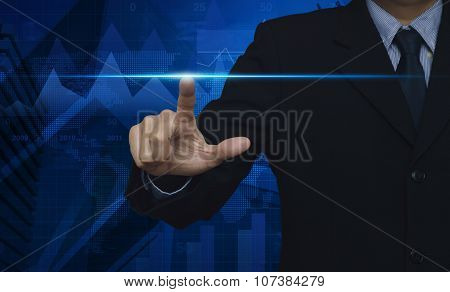 Businessman Pressing Button With Contact On Virtual Screens, Internet And Networking Concept, Elemen