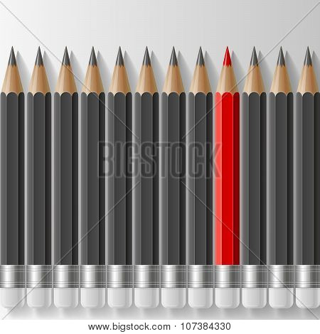 Row of dark grey pencils with one outstanding red pencil metaphor on white background