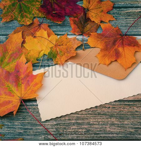 Blank Message Letter On Wooden Background, Clsoeup Shot