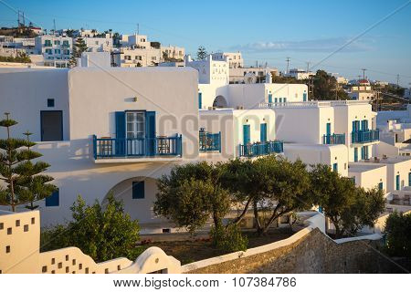 Greek traditional white houses in sunset at Mykonos town, Mykonos, Greece