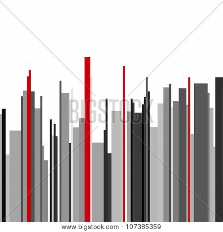 Abstract vertical infographics gray, black and red stripes background