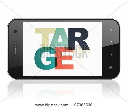 Business concept: Smartphone with Target on  display
