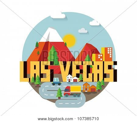 Las Vegas great destination to visit, vector cartoon