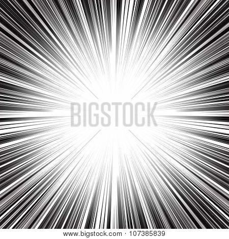 Abstract radial monochrome stripes burst background